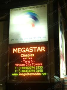 Bảng điện tử lịch chiếu phim tại rạp Megastar tại Vincom City Towers