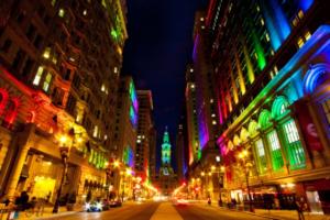 Đèn led chiếu sáng đường phố, đèn led chiếu sáng kiến trúc tòa nhà rực rỡ tại tòa thị chính Philadenphia