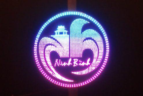 Hoa văn trang trí cột điện dùng đèn led logo Ninh Bình