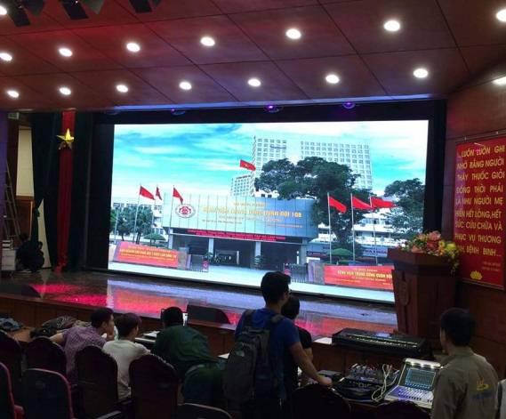 Màn hình led sân khấu trong nhà sử dụng tại Viện quân y 108
