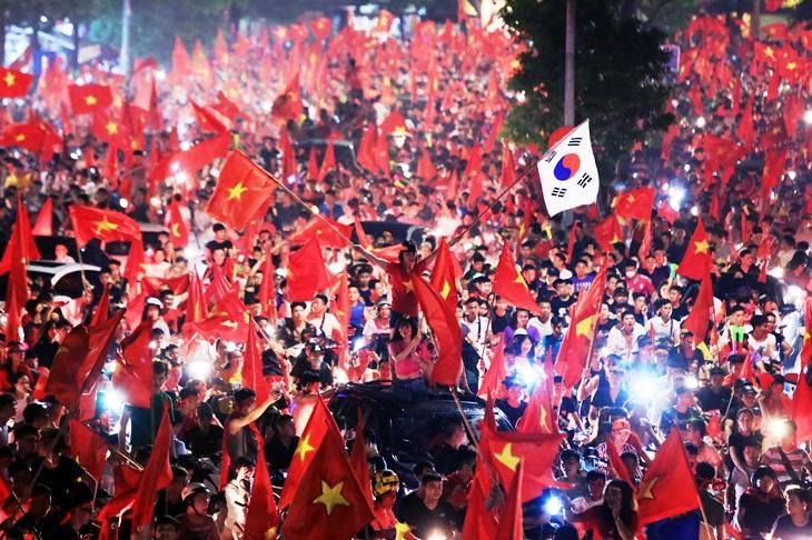 mừng chiến thắng tứ kết Olympic Việt Nam tại Asiad 2018